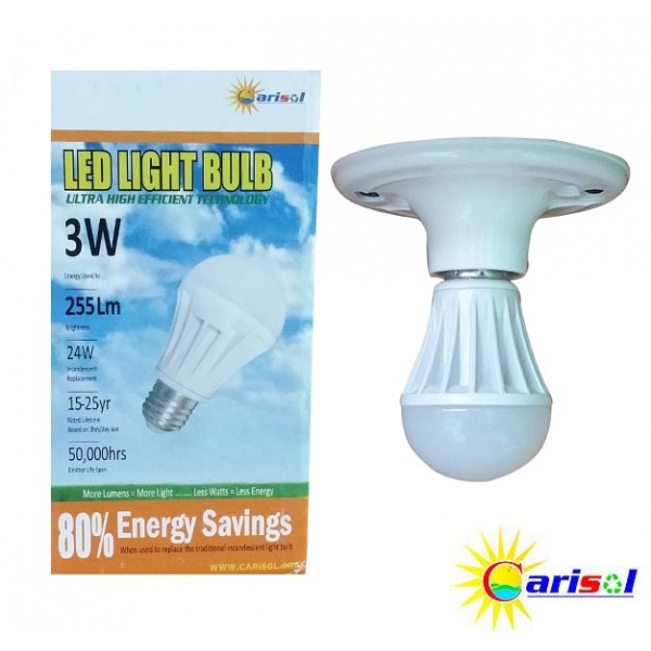 3W/255Lm L.E.D Light Bulb-SR-BL-3W-SO1-01-4000K CT Bright White