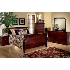 Louis Mary - 6 pc. Cherry Bedroom Set  - King Bed