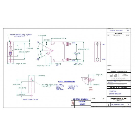 15A Panel Mount DC Breaker Midnite Solar-MNEDC15