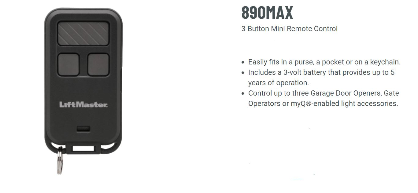 "LiftMaster 890max Mini Key Chain Garage Door Opener Remote 2.5/"" Long x 1.25/""..."